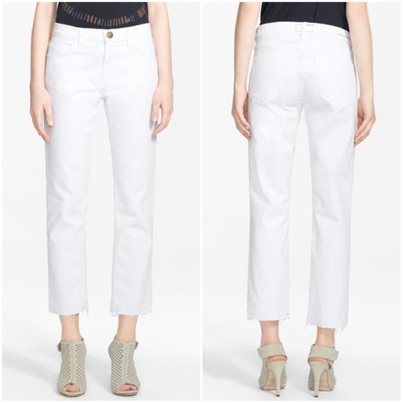 Current/Elliott Denim - Current/ Elliott The Cropped Straight White Jeans